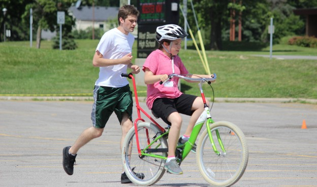 Teaching individuals with special needs how to ride a bicycle