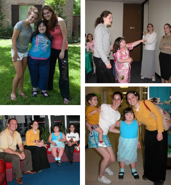 Top Left: Buddy Noa, Gwen, Buddy Emma | Top Right: Gwen at Purim | Lower Left: Steve (father), Houston buddy, Gwen | Lower Right: Noah (brother), friend Sarah Barr, Gwen and Houston buddy