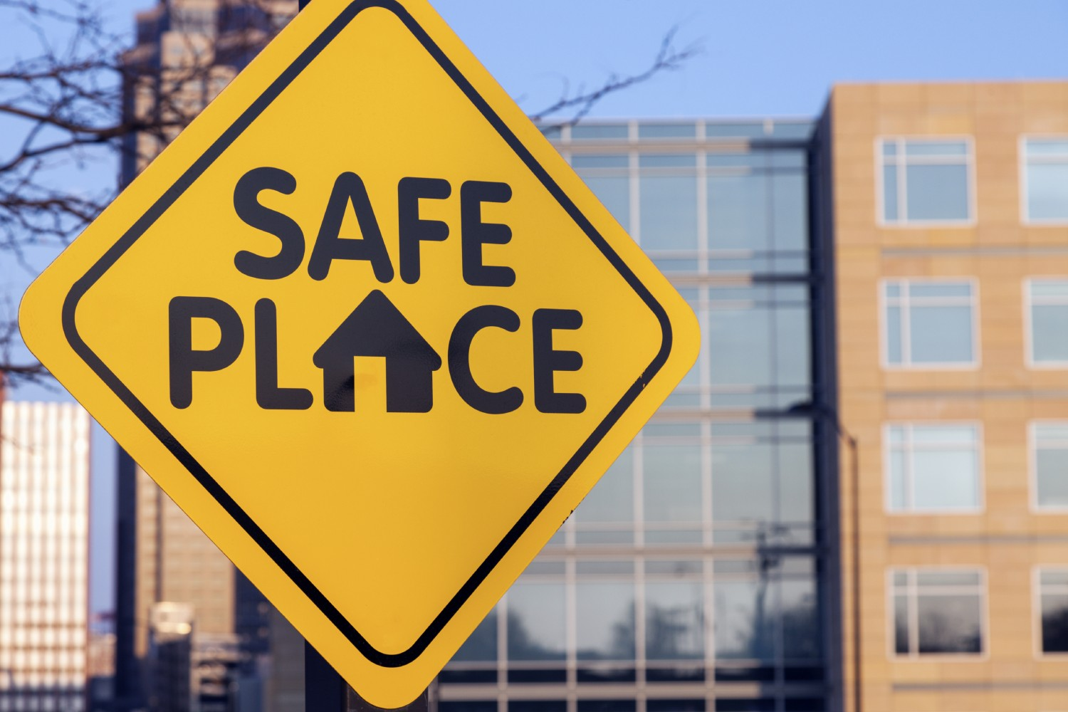 Safe place sign. Seen in downtown of Des Moines, Iowa, USA.